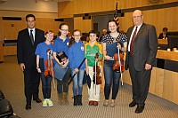 Legislator Moroney and performers from the Pearl River Irish Music School - 10/07/14
